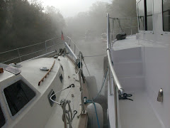 MILLENIUM SEA rafted to YA.  See the other 3 boats in the fog?  We couldn't either!  Bashi Creek