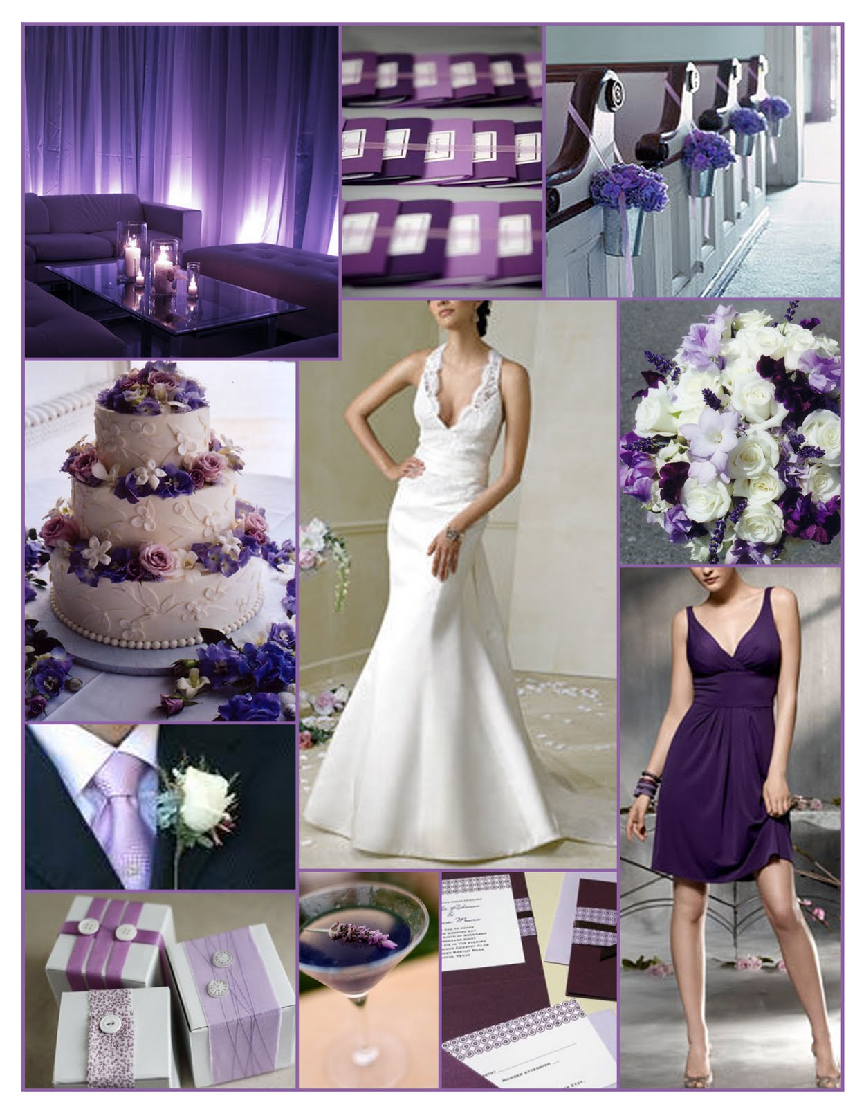 Purple wedding theme - White and purple decorations ...