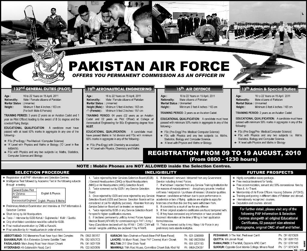 pakistan air force offers permanent commission as an officer