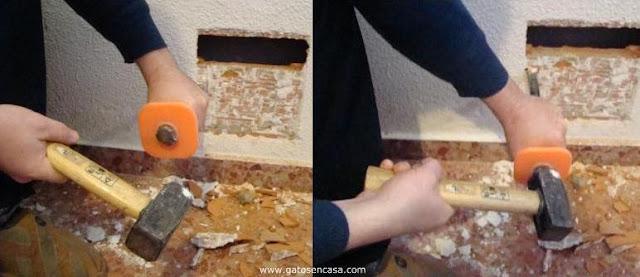 Hacer un agujero para gatera de pared paso a paso - Agujero en la pared ...