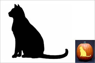 Side View Of A Black Cat On A Broomstick