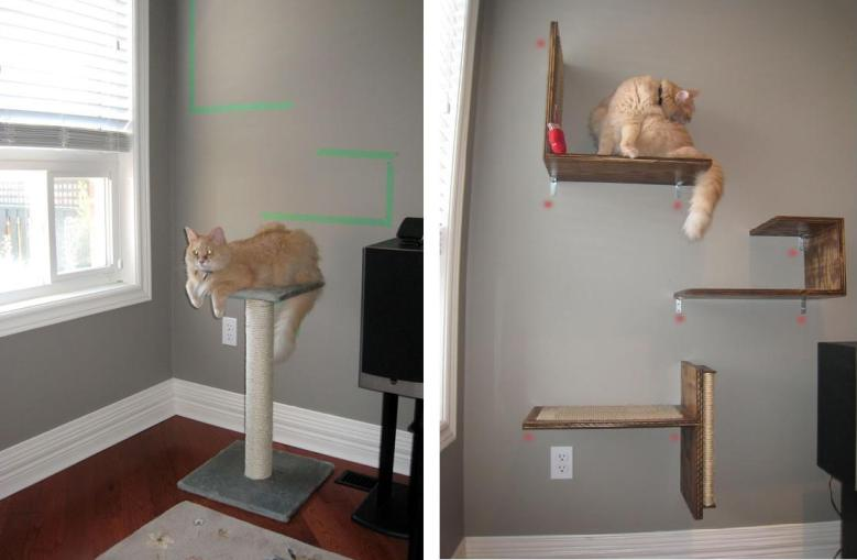Gimnasio mirador y cama con rascador para gato - Estanterias para gatos ...