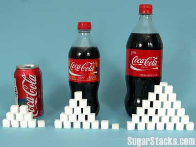 En tvåliters Coca Cola innehåller tjugosju och en halv sockerbitar.