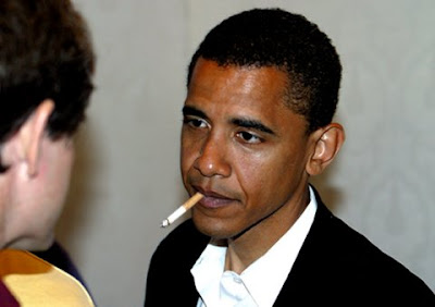 Barack Obama Smoking a Cigarette before he quit