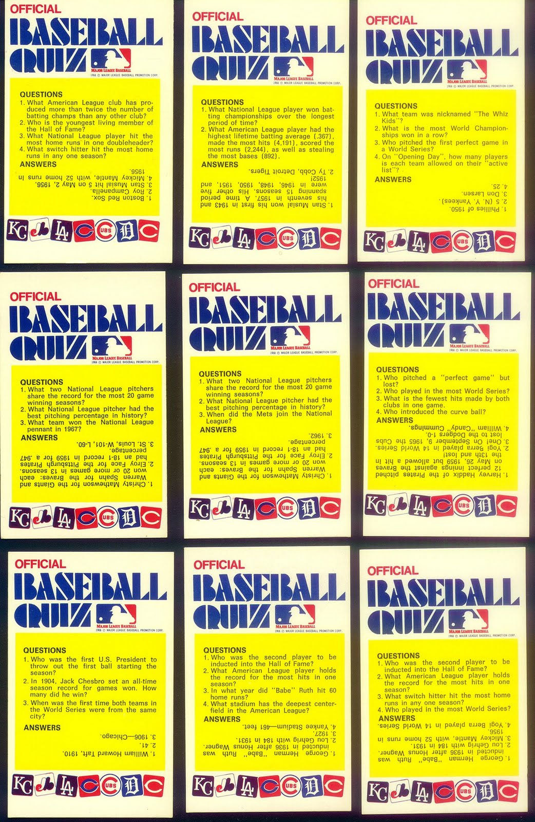 the fleer sticker project 1972 fleer baseball quiz card variations