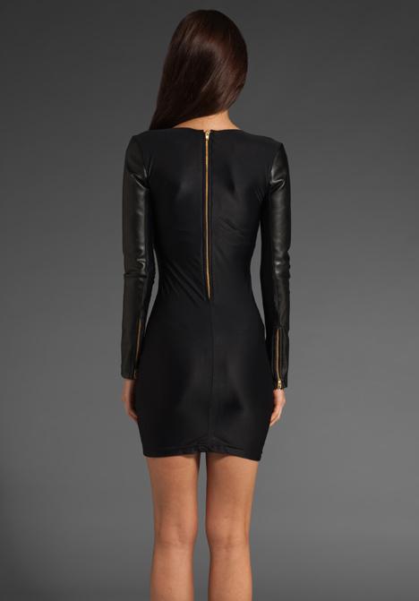 Maurie & Eve Tiny Lies Paneled Leather Dress