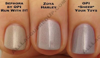 zoya harley, opi sheer your toys, sephora opi run with it, zoya, twist, spring 2009, nail color, nail colour, nail polish, nail lacquer