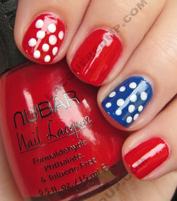 july 4th fourth manicure polka dot nail art My 4th of July Manicure   A Nail Art Extravaganza