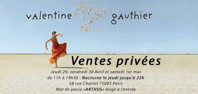 Vente privee Valentine Gauthier, rue Charlot