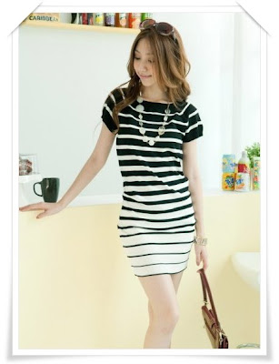 Black  White Striped Maxi Dress on Jy Shops  F 009   Black   White Striped Knitting Dress