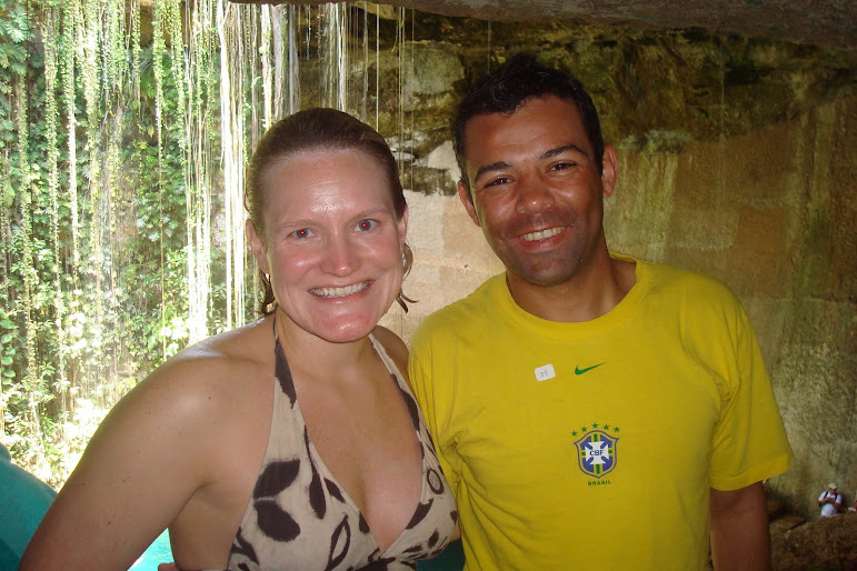 Katie and Kevin after swimming in the Cenote...March, 2008