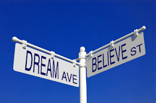 Road sign saying Dream and Believe