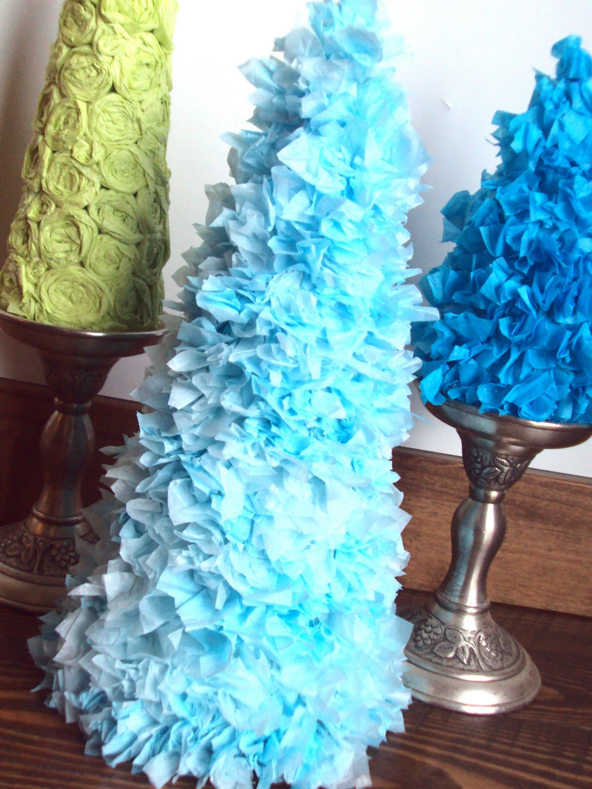 How to make a christmas decoration out of paper - I Made Christmas Trees Out Of Tissue Paper And It Was Soooo Easy For This Project You Will Need Tissue Paper Ten Sheets For The Large Tree And Six Or