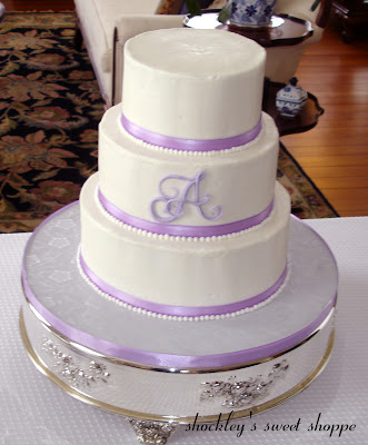 White Buttercream Lavender Wedding Cake