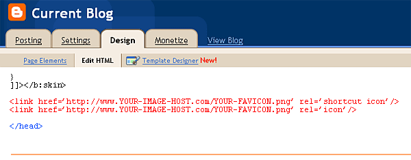 How to add a custom favicon in Blogger