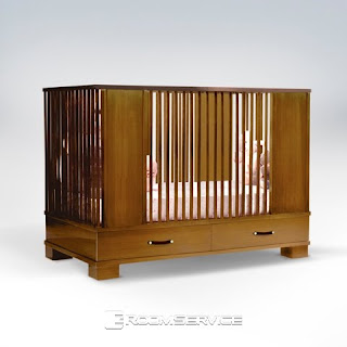 Morgan Modern Crib Beds Kids Furniture in Natural Walnut