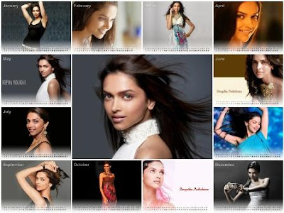Free Download Deepika Padukone Desktop Calendar 2011 & Wallpapers