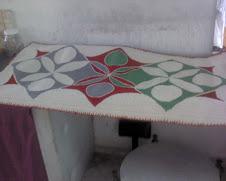Tapete confecionado em talagarça
