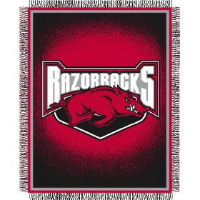 Red and black University of Arkansas Hogs blanket with large Razorbacks logo.