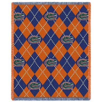 Argyle blue and orange University of Florida throw with Green Gator head logo.