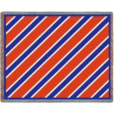Striped orange and blue UF Gators blanket.