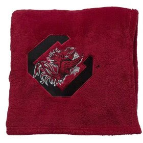 Red University of South Carolina fleece with black letter C logo.