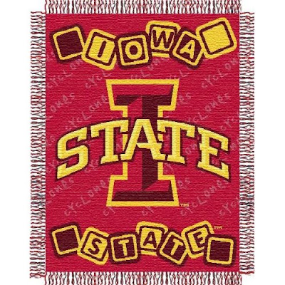 Iowa State University Cyclones baby blanket that is red with block letters.