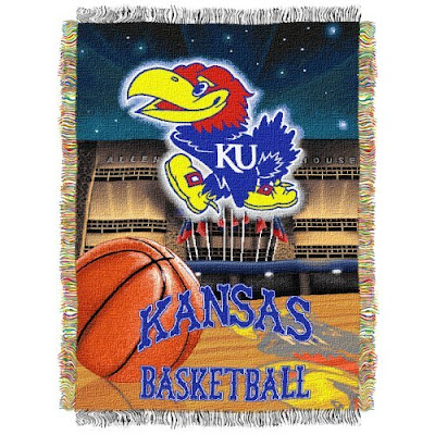 Kansas basketball tapestry blanket with Jayhawks logo.