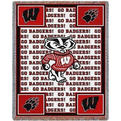 U of Wisconsin Go Badgers blanket with Bucky Badger mascot on a white background with red trim.