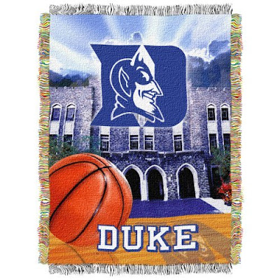 Duke basketball tapestry blanket with Cameron Indoor Stadium.