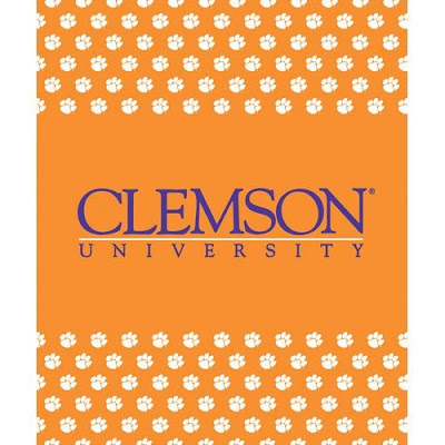 Clemson University orange fleece blanket.