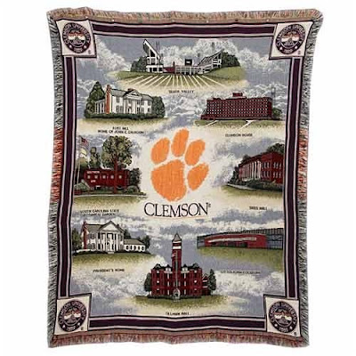 Clemson tapestry blanket with campus landmarks.
