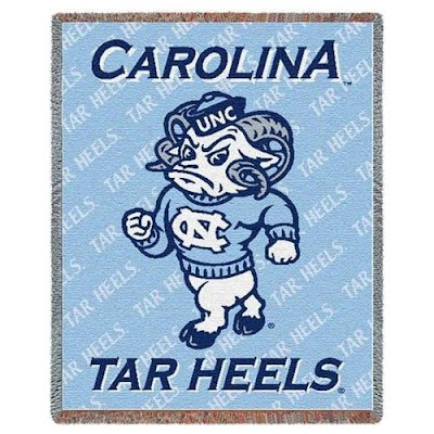Carolina Tar Heels blanket with Rameses the mascot on a blue background.
