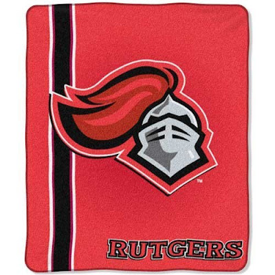 Rutgers U red Knights plush blanket.