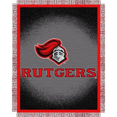 Black and red Rutgers University throw blanket.