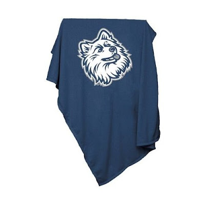 UConn sweatshirt blanket that is blue and white.