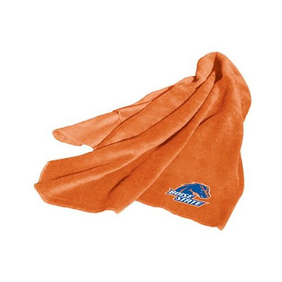 Orange Boise State (BSU) fleece blanket.