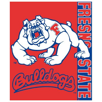 Fresno State Bulldogs throw blanket with Timeout the Bulldog mascot.