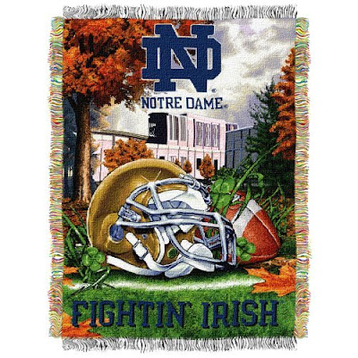 Notre Dame football tapestry blanket throw.