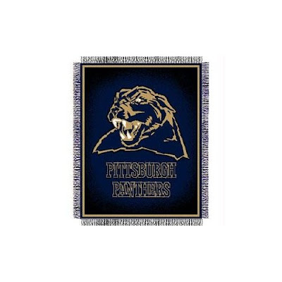University of Pittsburgh Panthers blue throw blanket.