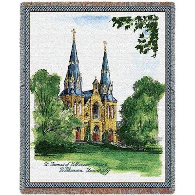 Villanova tapestry blanket picturing the St. Thomas of Villanova Church.