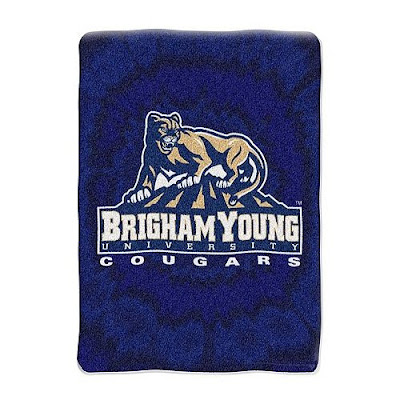 Brigham Young University Cougars blue blanket.
