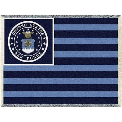 Blue US Air Force flag blanket throw.