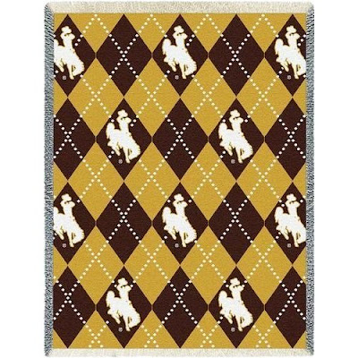 Argyle and plaid University of Wyoming Cowboys blanket.