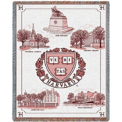 Harvard Crimson tapestry blanket with campus landmarks.