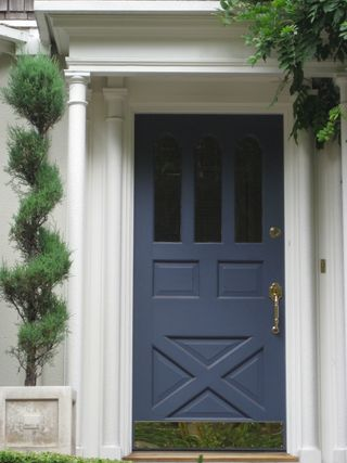 Falls design i love colorful front doors for Blue grey front door