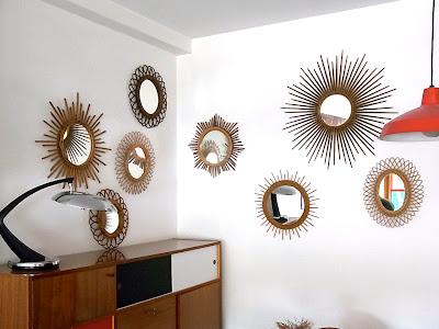Baos miroir en rotin dit soleil ann es 60 for Miroir soleil rotin