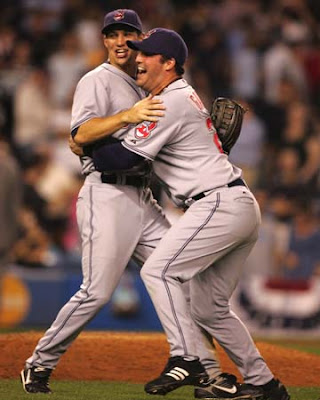 Cleveland Indians Grady Sizemore (left) and Ryan Garko celebrate the team's 6 - 4 win over the New York Yankees in Game 4 of the American League Division Series at Yankee Stadium on Monday, Oct. 8, 2007, in New York to advance to the American League Championship Series against the Boston Red Sox. (Phil Masturzo /Akron Beacon Journal)