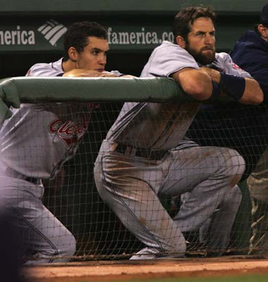 Cleveland's Grady Sizemore (left) and Casey Blake watch from the dugout in the third inning of Game 7 of the American League Championship Series, Sunday, Oct. 21, 2007, at Fenway Park in Boston. (Phil Masturzo/Akron Beacon Journal)