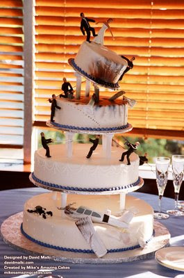 This cake may technically be a wreck, but it's a freakin' sweet wreck. And get this: it's a wedding cake. Awww yeeeah [cue Bond music: dum da da dum da da da...].